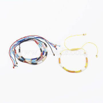 5Pcs 5 Colors Adjustable Nylon Thread Braided Bead Bracelets, with Round Glass Seed Beads, Mixed Color, Inner Diameter: 1-5/8~4 inch(4~10cm), 1pc/color(BJEW-JB06160)
