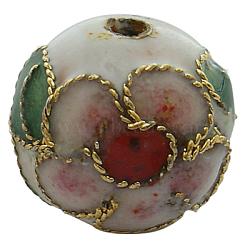 Handmade Cloisonne Beads, Filigree Round, White, 12mm, Hole: 1.5mm(X-CLB12mmC01)