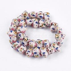 Perles en porcelaine manuelles, ornement d'or, animaux, colorées, 12~13x10.5~11.5x18mm, Trou: 1.5~2mm(PORC-G002-46)