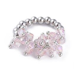 304 bagues élastiques en acier inoxydable, avec perle de verre galvanisée et goupilles en laiton, rose, taille 8, 18mm(RJEW-JR00261-05)