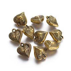 пластиковые сердечные кулоны ccb, античные золотые, 21x19x12 mm, отверстия: 2 mm(CCB-J030-59AG)