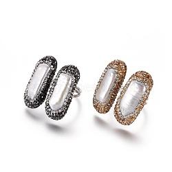 Bagues de manchette réglables en argile polymère avec strass, avec les accessoires de perles et en laiton, rectangle, couleur mixte, taille 8~9, 18~19mm(RJEW-K229-D)