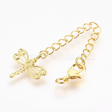 Brass Chain Extender, with Lobster Claw Clasps, Cadmium Free & Nickel Free & Lead Free, Long-Lasting Plated, Dragonfly, Golden, 75x3mm, Hole: 2.5mm; Clasps: 10x6x3mm(KK-I633-50G-NR)