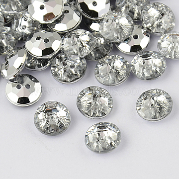 2-Hole Taiwan Acrylic Rhinestone Flat Round Buttons, Faceted & Silver Plated Pointed Back, White, 18x6mm, Hole: 1mm(BUTT-F015-18mm-02)