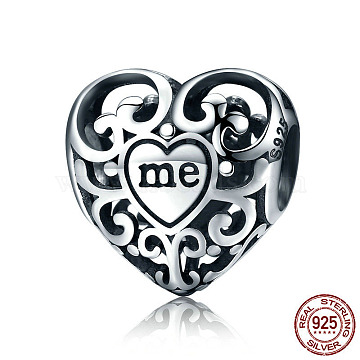 925 Sterling Silver European Beads, Large Hole Beads, Heart with Word Me, Antique Silver, 12x12x8mm, Hole: 4.2~4.5mm(STER-FF0009-08AS-12)