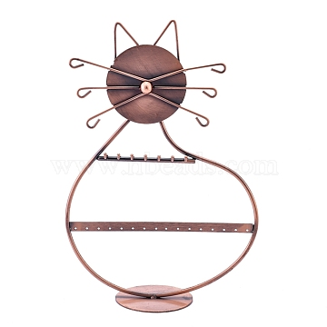 Cat Shape Iron 2-Tier Earring Display Stand, for Hanging Earrings, Red Copper, 80x200x300mm(EDIS-K002-02R)