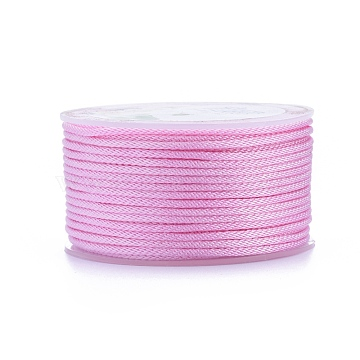Polyester Braided Cords, for Jewelry Making Beading Crafting, Pink, 2mm; 20m/roll(OCOR-I006-A01-17)