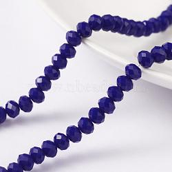 """1 brin opaque de couleur bleu solide cristal de verre rondelle perles, facette, 4x3mm, trou: 1mm; environ 135 pcs/chapelet, 17.9""""(X-EGLA-F048A-05)"""
