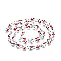 304 chaînes en acier inoxydable émaillé, soudé, mauvais oeil coeur et ovale, couleur inoxydable, rouge, 10x5.5x2mm(CHS-P006-01P-03)