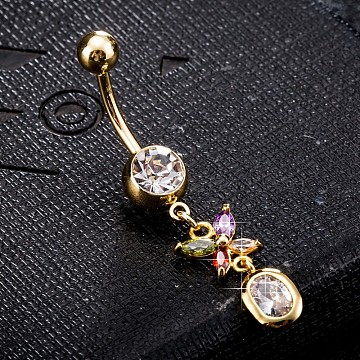 Environmental Brass Cubic Zirconia Navel Ring, Belly Rings, with Use Stainless Steel Findings, Real 18K Gold Plated, Butterfly, Colorful, 44x9mm(AJEW-EE0004-04B)