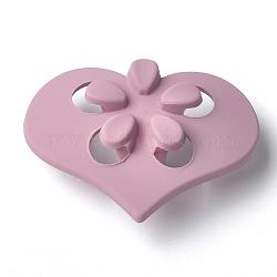 Boutons en acrylique, caoutchouté, 1-trou, coeur avec fleur, flamant, 41.5x31x15.5mm, Trou: 4mm(MACR-T024-09B)