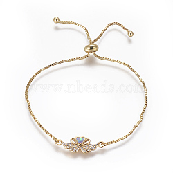 """Bracelets bolo réglables en laiton, Bracelets coulissants, chaînes de boîte, Avec de l'opale synthétique et de la zircone cubique, cygne avec coeur, or, lilas, 9-5/8"""" (24.5 cm), 1mm(BJEW-L618-03G-A)"""