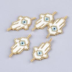 Main japonais Rocailles liens, motif de tissage, hamsa main / main de fatima / main de miriam avec mauvais oeil, blanc, 37x20x3mm, Trou: 2mm(X-SEED-T002-05)