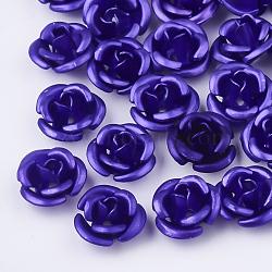 Perles en aluminium, givré, plaqué longue durée, 3 fleur -petal, mauve, 6x4.5 mm, trou: 0.8 mm(X-FALUM-T001-02A-23)