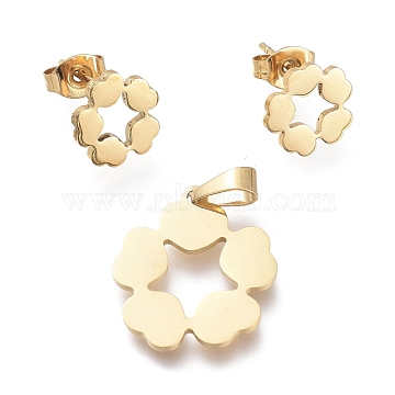 304 Stainless Steel Jewelry Sets, Pendants and Stud Earrings, with Ear Nuts, Flower with Heart, Golden, 18.5x16.5x1mm, Hole: 5.3x2.8mm; 9.3x9.6mm, Pin: 0.7mm(SJEW-K154-09G)