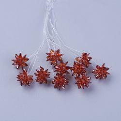 perles de verre tissées, fleur / sparkler, fait de charmes en oeil de cheval, Sienna, 13 mm(EGLA-L014-21Q)