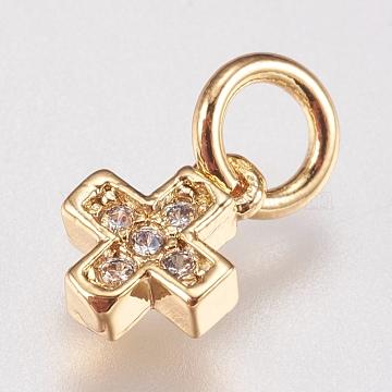 Brass Cubic Zirconia Charms, Cross, Golden, 6.5x5x1.8mm, Hole: 3.5mm(X-ZIRC-E147-61G)