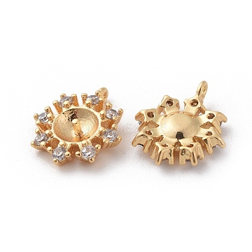 Brass Cubic Zirconia Peg Bails Pendants, For Half Drilled Bead, Flower, Clear, Real 18K Gold Plated, 11.5x10x3.5mm, Hole: 0.8mm; Pin: 1mm(X-KK-S350-124G)