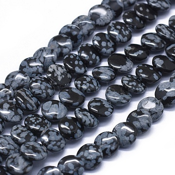 9mm Flat Round Snowflake Obsidian Beads