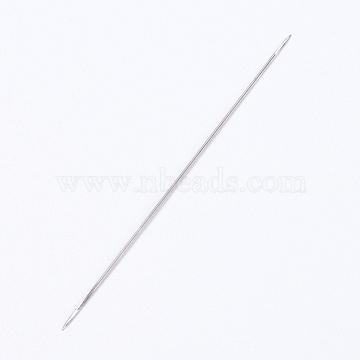 Iron Open Beading Needle, DIY Jewelry Tools, Platinum, 5.6x0.01cm(X-IFIN-P036-01C)
