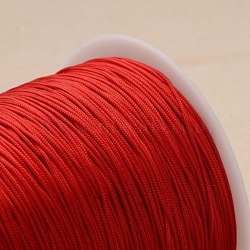 Polyester Cord, Knotting Cord Beading String, for Bracelet Making, Red, 1mm, about 300meter/roll(OCOR-L020-21)