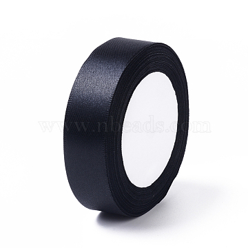 Satin Ribbon for DIY Garment Hairbow Accessory, Black, about 1 inches(25mm) wide, 25yards/roll(22.86m/roll)(X-RC25mmY039)