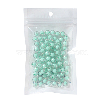 Transparent Acrylic Beads, Bead in Bead, Round, Aquamarine, 8x7.5mm, Hole: 2mm; about 100pcs/bag(TACR-YW0001-03C)