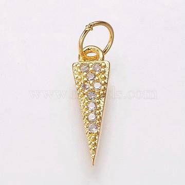 (Same Sku: ZIRC-E135-35G) Brass Micro Pave Cubic Zirconia Charms, Triangle, Clear, Golden, 13.5x4x2mm, Hole: 3.5mm(X-KK-P134-16G)