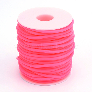 Hollow Pipe PVC Tubular Synthetic Rubber Cord, Wrapped Around White Plastic Spool, Deep Pink, 3mm, Hole: 1.5mm, about 27.34 yards(25m)/roll(RCOR-R007-3mm-02)