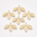 Matte Gold Color Leaf Alloy Pendants(PALLOY-T067-50MG)