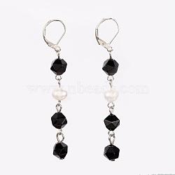 Dormeuses en agate noire naturelle, facette, avec perles nacrées, accessoires en fer et accessoires de dormeuse en laiton, 70mm, pendentif: 53~54x7~9 mm(EJEW-JE02822-04)