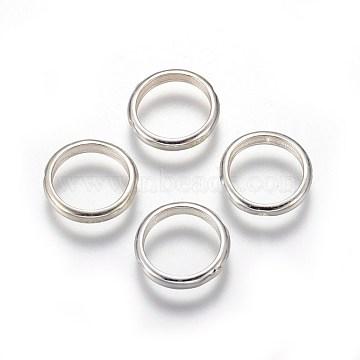 925 Sterling Silver Bead Frames, Ring, Silver, 12x2mm, Hole: 0.8mm, 10mm inner diameter(STER-E062-06S)