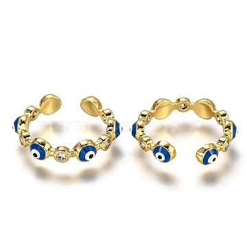 Brass Micro Pave Clear Cubic Zirconia Cuff Rings, Open Rings, with Enamel, Long-Lasting Plated, Evil Eye, Blue, Real 18K Gold Plated, US Size 6, Inner Diameter: 17mm(RJEW-C100-21G)