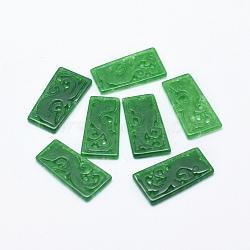Lustre naturel jade / birman jade lustre composants des liens, teint, trapèze sculpté, 26~29x13.5~16x2mm, Trou: 1~1.5mm(G-F581-08)