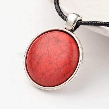 Flat Round Tibetan Style Alloy Synthetic Turquoise Pendant Necklaces(NJEW-F197-15)-2