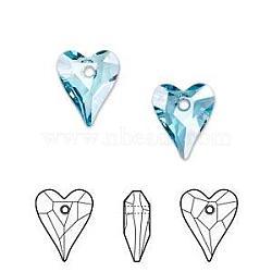pendentifs en cristal autrichien, 6240 pendentifs coeur sauvages, jour les bijoux de la mère faisant, 202 _aquamarine, 12x10 mm(X-SWAR-6240-12MM-202)