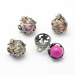 pendentifs cage cage laiton, carillon boule, avec des perles en laiton cloche, sans plomb et sans cadmium, fleur, bronze antique, 26x25x20 mm, trou: 4x6 mm(KK-F723-02AB-RS)