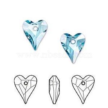 Austrian Crystal Pendants, 6240 Wild Heart Pendants, Mother's Day Jewelry Making, 202_Aquamarine, 12x10mm(X-SWAR-6240-12MM-202)