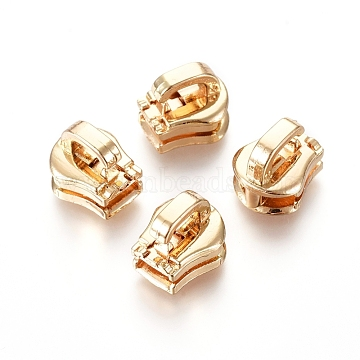 Zinc Alloy Zipper Puller, Garment Accessories, Light Gold, 10x9x8.6mm, Hole: 4.5x2mm(PALLOY-WH0067-95C)