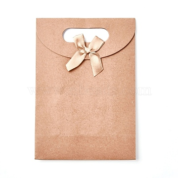 Kraft Paper Gift Bags with Ribbon Bowknot Design, Brown Paper Bag, for Party, Birthday, Wedding and Party Celebrations, Rectangle, BurlyWood, 19.5x13.8x7.1cm(X-CARB-WH0009-05B)