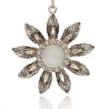 Antique Silver Plated Alloy Cat Eye Flower Big Pendants, with Crystal Rhinestone, WhiteSmoke, 63x58x12mm, Hole: 3mm(PALLOY-J225-01AS)
