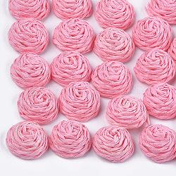 Cabochons tissés à la main, recouvert de plastique abs, un demi-tour avec des fleurs, rose, 15~16x7.5~8mm(WOVE-T008-01J)