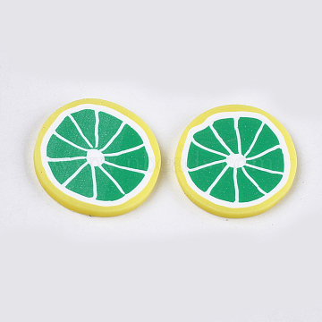 Handmade Polymer Clay Cabochons, Grapefruit, Green, 19~20x2~3mm(CLAY-S091-34A)