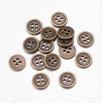 Alloy Buttons, 4-Hole, Flat Round, Tibetan Style, Antique Bronze, 11.5x1.5mm, Hole: 1mm(BUTT-D054-11.5mm-02)