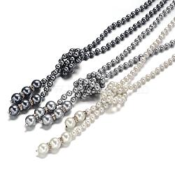 perle acrylique colliers lariat, avec des strass en alliage, couleur mélangée, 29.9(NJEW-O086-08)