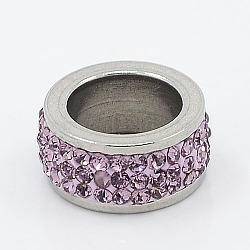 304 Stainless Steel Column Beads, with Polymer Clay Rhinestone, Stainless Steel Metal Color, Violet, 13x6mm, Hole: 8mm(RB-I065-03)