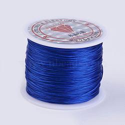 Chaîne de cristal élastique plat, fil de perles élastique, pour la fabrication de bracelets élastiques, bleu, 0.5 mm; environ 45 m/rouleau(X-EW-P002-0.5mm-A06)