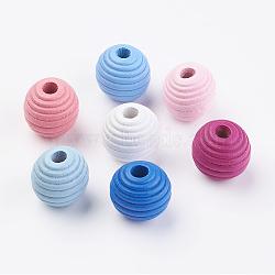 Ruche bois européen perles, teint, rond, couleur mixte, 19~20x19mm, Trou: 5mm(X-WOOD-Q030-54)