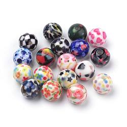 Perles acryliques imprimés opaques, rond, couleur mixte, 10x9.5mm, Trou: 2mm(X-MACR-S271-10mm-M)