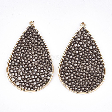 PU Leather Big Pendants, with Golden Plated Alloy Findings, teardrop, with Snakeskin Pattern, Coconut Brown, 58x37x3mm, Hole: 1.6mm(X-FIND-S314-006A)